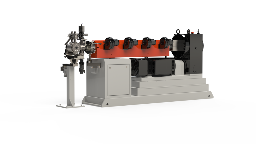 3D visualisation of a Kurre Siebe single screw extruder for professional use, for plasticizing and sheathing wires, etc.