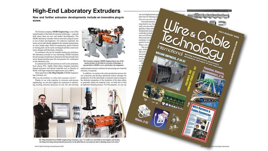 Bildausschnitt aus einem Fachartikel und Titelseite der amerikanischen Zeitschrift Wire and Cable Technology.