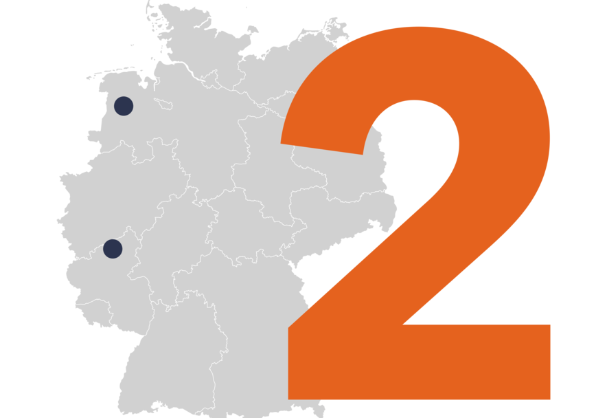 Map of Germany with 2 locations