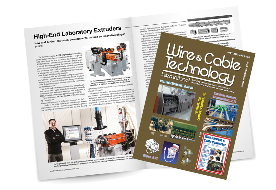 Bildausschnitt aus einem Fachartikel und Titelseite der amerikanischen Zeitschrift Wire and Cable Technology